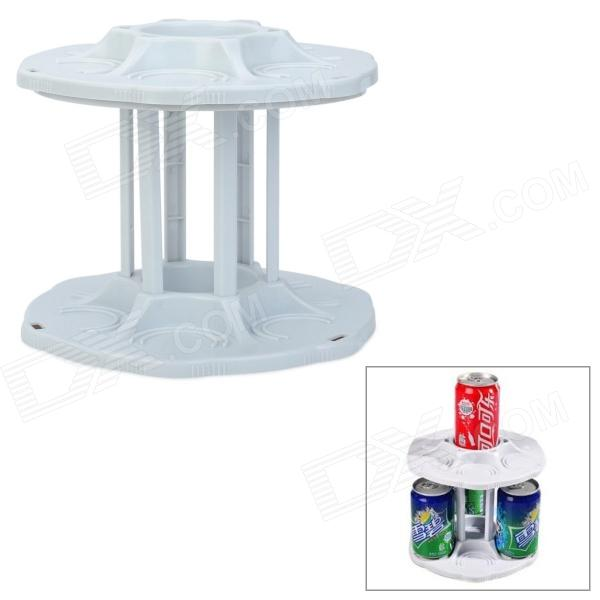 AL-2312 360 Degree Rotational 2-Layer Cans Organizer Storage Plate - White