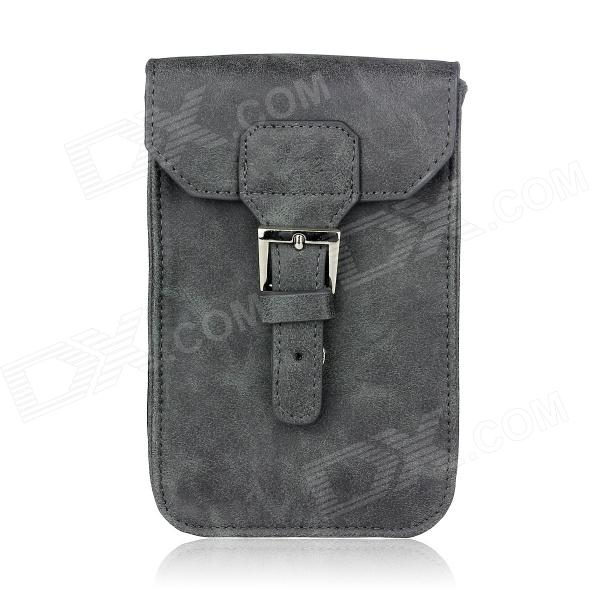 Stylish PU Leather Sleeve Pouch Case for Samsung Galaxy Note II / N7100 / HTC One X - Grey metal ring holder combo phone bag luxury shockproof case for samsung galaxy note 8