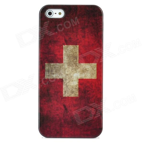 Retro Switzerland National Flag Pattern Protective Plastic Case + SIM Card Adapter for Iphone 5 eiffel tower pattern protective back case sim card adapter for iphone 5 yellow pink green