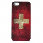 Retro Switzerland National Flag Pattern Protective Plastic Case + SIM Card Adapter for Iphone 5