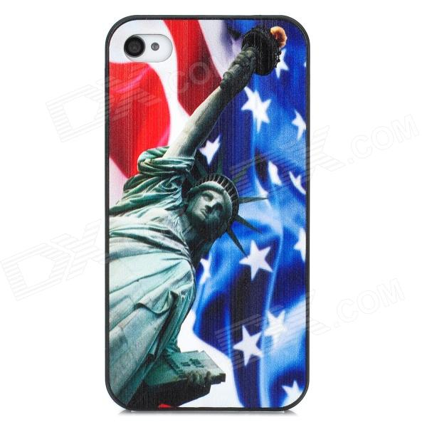 Statue of Liberty Pattern Protective Plastic Case for Iphone 4 / 4S - Blue + White protective plastic case for iphone 5c blue