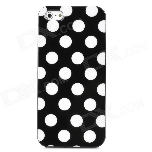 White Dot Pattern Protective TPU Case for Iphone 5 - Black for iphone 7 plus 5 5 inch glossy tpu cellphone case with cartoon pattern bunny