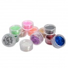 12-in-1 Decorative DIY Nail Art Glitter Set - Multicolored