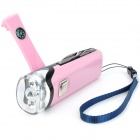 Hand Cranked LED Flashlight Charger w/ Knife / Scissors / Opener / Compass / Money Detector - Pink