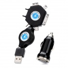 Widepath WP015 Car Cigarette Powered USB Adapter/Charger with 6-in-1 Charging Adapter Set - Black