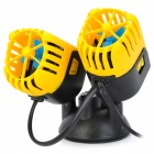 2 x 3W Aquarium Fish Tank Wave Maker - Black + Yellow (AC 220~240V / 2-Flat-Pin Plug)