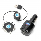 Widepath W46 USB Car Cigarette Lighter Charger w/ 6-in-1 Mobile Phone Adapters - Black (DC 12~24V)