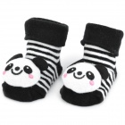 Cute Panda Shaped Cotton Non-Slip Baby Socks - Black + White (Pair)