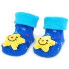 Cute Star Shaped Cotton Non-Slip Baby Socks - Blue (Pair)