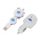 W46 6-in-1 USB Retractable Kabel + Car Charger - White + Blue