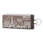PNY Pairs Urban Style Pattern Rotational USB 2.0 Flash Drive - Coffee (8GB)