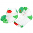 Cute Apple Shaped Cotton Non-Slip Baby Socks - Green + White (Pair)