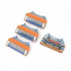 Replacement Manual Shaver Razor 5-Blade Heads - Orange + Silver (4 PCS)