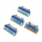 Replacement Manual Shaver Razor 5-Blade Heads - Blue + Green + Silver (4 PCS)