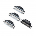 Replacement Manual Shaver Razor 3-Blade Heads - Black + Silver (4 PCS)