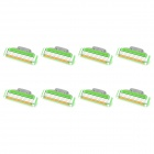 Replacement Manual Shaver Razor 3-Blade Heads - Green + Silver (8 PCS)