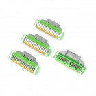 Replacement Manual Shaver Razor 3-Blade Heads - Green + Silver (4 PCS)