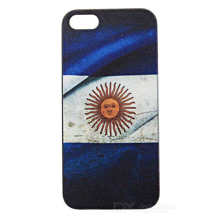 Argentina National Flag Pattern Protective PC Back Case for Iphone 5 - Blue + Grey + Black retro us national flag relief style protective crystalpc case for iphone 5 blue red