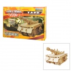 DIY Wooden + Plastic Puzzle Assemble Tank w/ Remote Controller - Light Ivory (5 x AAA)