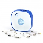 DS-6000 6000mAh Mobile External Battery Power Charger w/ Dual-USB Output / LED Light - White + Blue