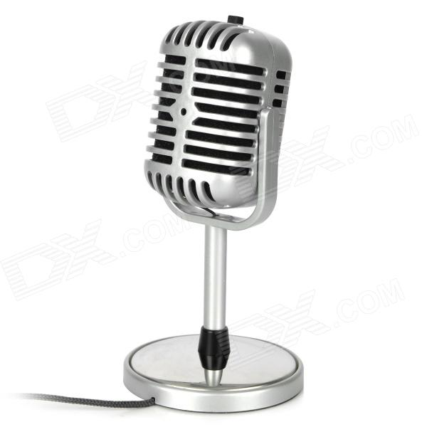 TRANSHINE PC-05 Classical Vintage Standing Microphone - Silver (DC 5V / 3.5mm Plug)