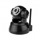 Indoor 300KP Wireless IP Network Camera w/ 11-LED Night Vision / RJ45 / Audio - Black (Free DDNS)