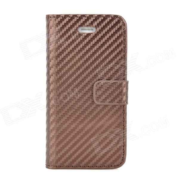 Straw Mat Grain Style Protective Flip Open PU Leather Back Case for Iphone 5 - Brown ultra thin protective flip open pu leather cover with plastic back case for iphone 5 red
