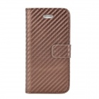 Straw Mat Grain Style Protective Flip Open PU Leather Back Case for Iphone 5 - Brown