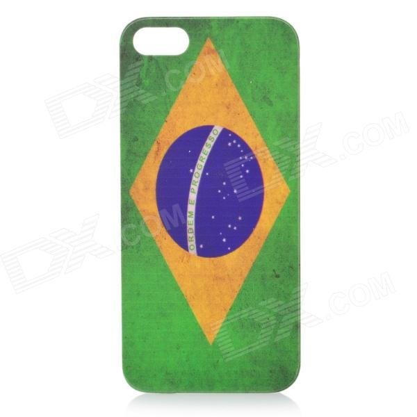 Retro Brazil National Flag Pattern Protective PC Plastic Case for Iphone 5 - Green + Yellow + Grey цена и фото