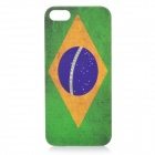 Retro Brazil National Flag Pattern Protective PC Plastic Case for Iphone 5 - Green + Yellow + Grey