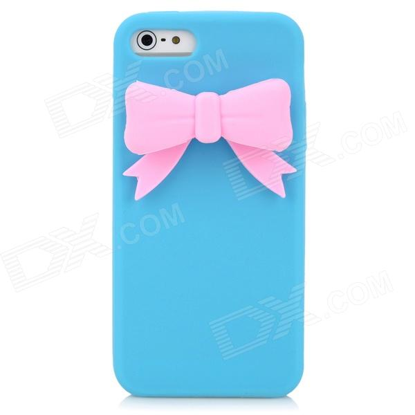 PG002 Bowknot Style Protective Silicone Back Case for Iphone 5 - Blue + Pink секатор bahco цвет розовый pg 14 pink