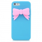 PG002 Bowknot Style Protective Silicone Back Case for Iphone 5 - Blue + Pink