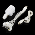 Dual USB Car Cigarette Lighter / AC Power Adapter w/ 10-in-1 USB Charging Cable for Cellphone + More