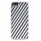 Stripe Pattern Protective Aluminum Alloy Back Case for Iphone 5 - Silver + Black