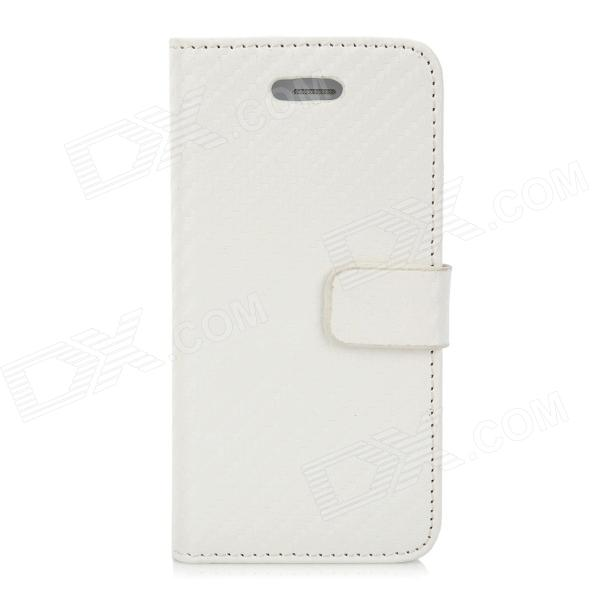 Straw Mat Grain Style Protective Flip Open PU Leather Back Case for Iphone 5 - White