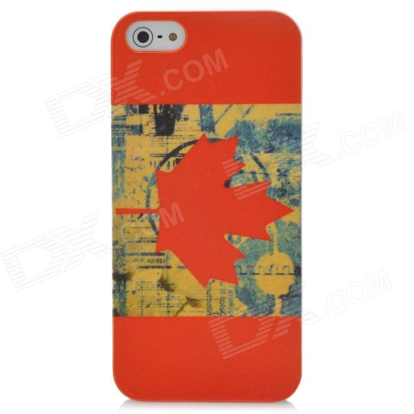 Protective Canada National Flag PC Back Case Cover for Iphone 5 - Red + Yellow elegance tpu pc hybrid back case with kickstand for iphone 7 plus 5 5 inch red