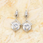 Unique Geometric Pattern Diamond + Silver Earrings - Silver (Pair)