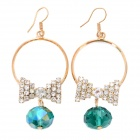 Cute Butterfly Shaped Diamond + Alloy Earrings - Golden + Green (Pair)