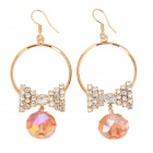 Cute Butterfly Shaped Diamond + Alloy Earrings - Golden + Pink (Pair)
