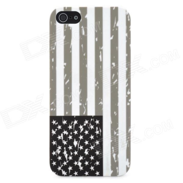 USA National Flag Pattern Protective PC Plastic Case for Iphone 5 - Grey + White + Black protective uk national flag pattern silicone case for iphone 5 black