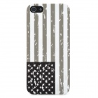 USA National Flag Pattern Protective PC Plastic Case for Iphone 5 - Grey + White + Black