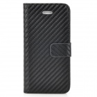 Straw Mat Grain Style Protective Flip Open PU Leather Back Case for Iphone 5 - Black