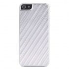 Stripe Pattern Protective Aluminum Alloy Back Case for iPhone 5 - Silver + Pink