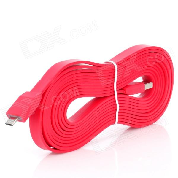 Flat USB 2.0 Male to Micro USB Male Data Transfer / Charging Cable - Red (300cm) micro usb male to usb male data cable red 95cm