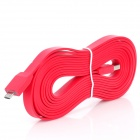Flat USB 2.0 Male to Micro USB Male Data Transfer / Charging Cable - Red (300cm)