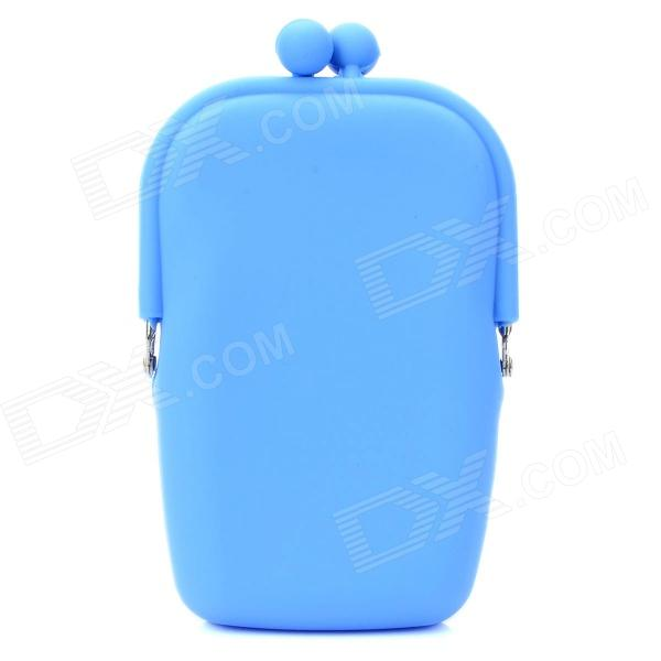 Cute Fashion Horizontal Version Silicone Purse / Mobile Bag - Blue (M Size)