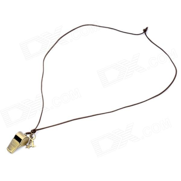 Retro Whistle Shaped Copper Alloy Necklace w/ Strap - Pearl Gold annular black pearl diamond pendant alloy necklace