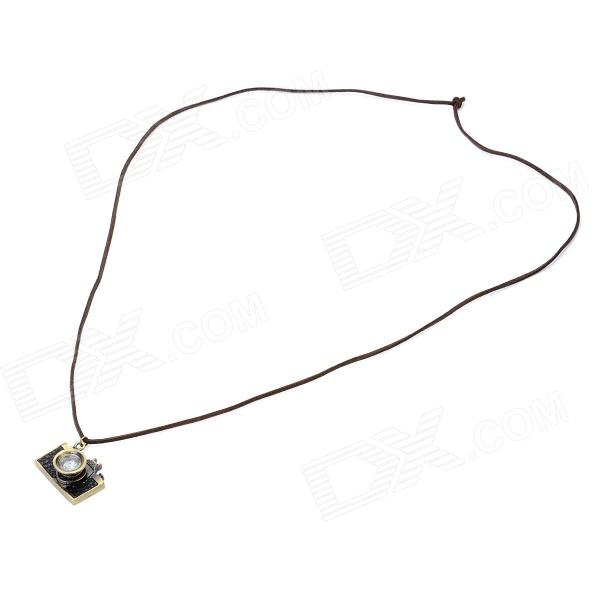 Retro Point-and-Shoot Camera Shaped Copper Alloy Necklace w/ Strap - Pearl Gold + Black annular black pearl diamond pendant alloy necklace