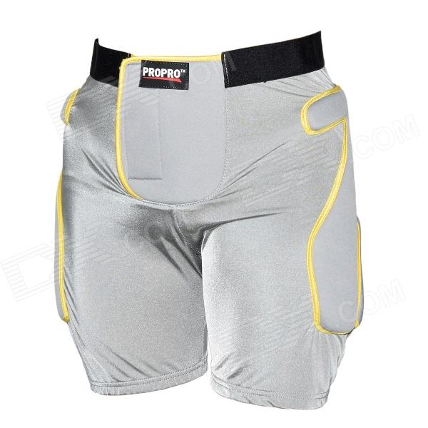 PROPRO SP-008 Snowboard Skiing Hip Tail Padded Protective Shorts - Grey + Yellow (Size L)