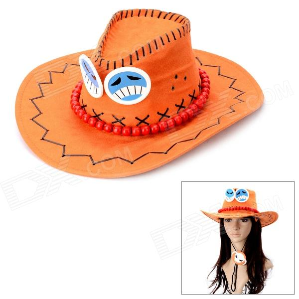 Fashion Cowboy Style Matte Artificial Leather Cap Hat for Cosplay - Orange (57cm) cowboy hat cap cap flat top hat lace rhinestone flower hooded fashion tide cap cap riding hood